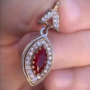 Ruby Gem PENDANT Solid 925 Sterling Silver/Gold